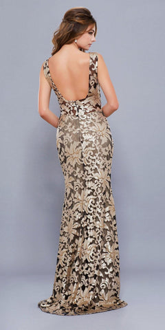 Metallic Lace Fitted Sleeveless Prom Gown Open Back Black/Gold