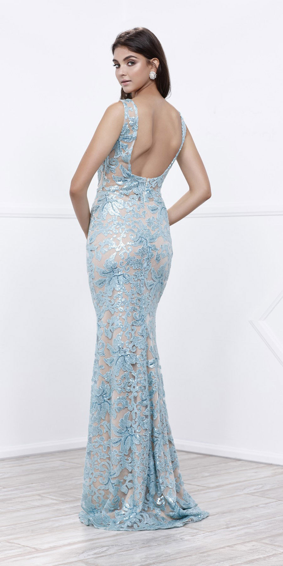 Metallic Lace Fitted Sleeveless Prom Gown Open Back Aqua Nude