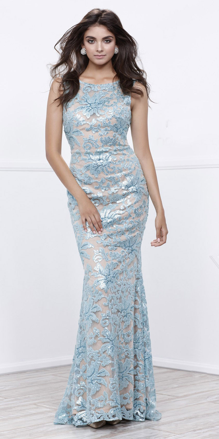 Metallic Lace Fitted Sleeveless Prom Gown Open Back Aqua Nude ...