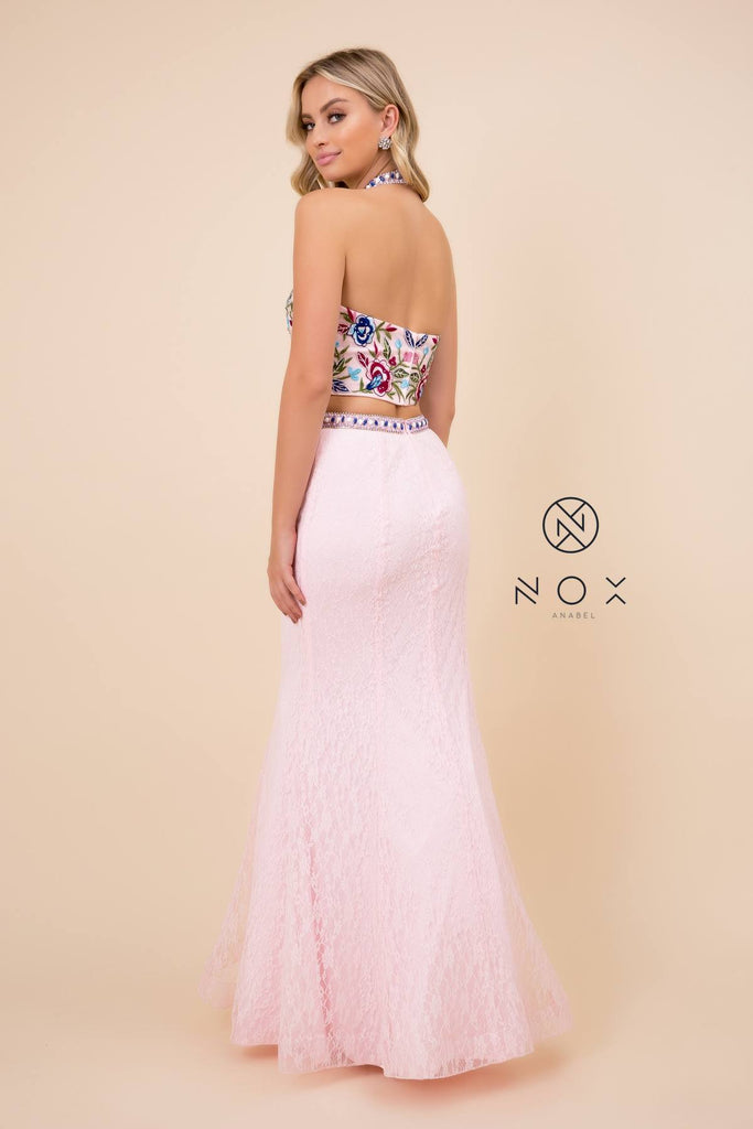 Nox Anabel 8262 Long 2-Piece Mermaid Pink Gown Embroidery Halter Top Lace