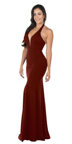 Poly USA 8262 Deep V-Neck Halter Long Prom Dress Burgundy