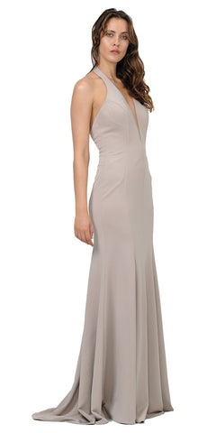 Poly USA 8262 Deep V-Neck Halter Long Prom Dress Mocha