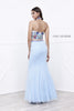 Embroidered Halter Top Lace Mermaid Skirt Two-Piece Prom Gown Aqua