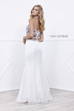 Embroidered Halter Top Lace Mermaid Skirt Two-Piece Prom Gown White