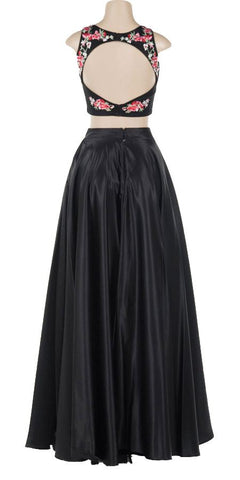 Embroidered Top Two-Piece Prom Gown Black Skirt with Pockets