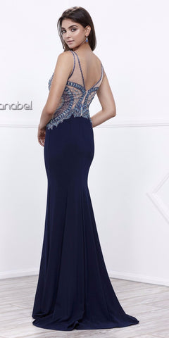 V-Neck Embellished Bodice Navy Blue Sleeveless Prom Dress Long
