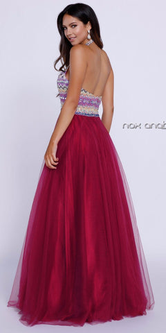 Red Ball Gown with Halter Beaded Bodice Tulle Overlay Skirt