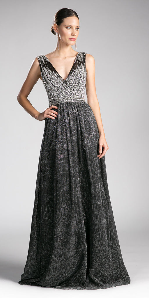 Black-Silver Embellished Bodice Long Prom Dress V-Neck