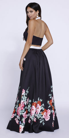 Black Floral Two-Piece Halter Sequins Prom Dress Long with Pockets