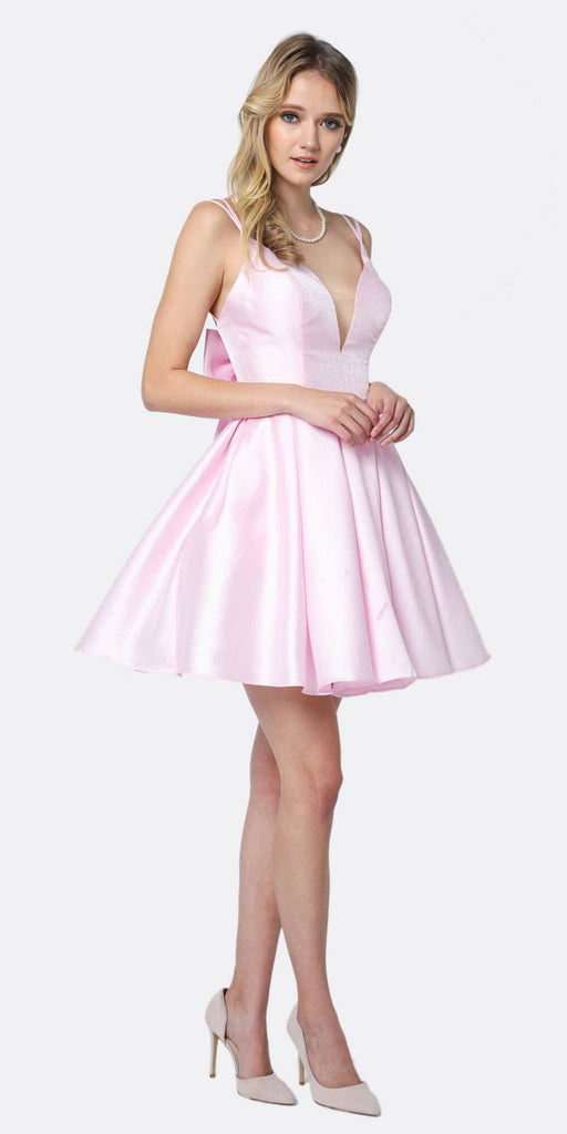 Juliet 827 Short Party Dress Light A-Line Removable Back Bow