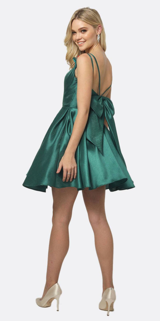 Juliet 827 Short Party Dress Green A-Line Removable Back Bow