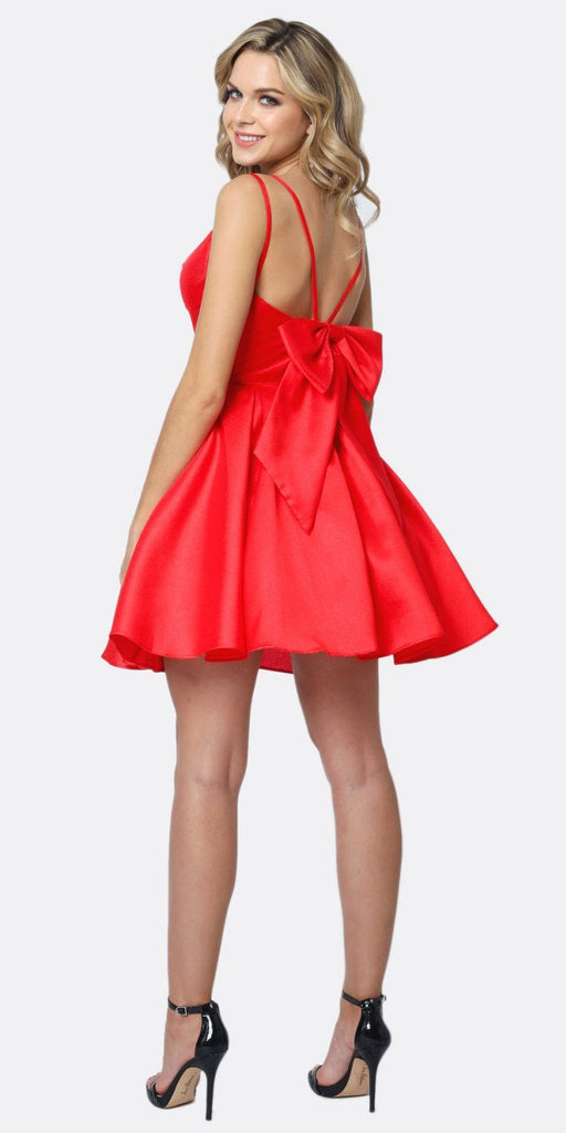 Juliet 827 Short Party Dress Red A-Line Removable Back Bow