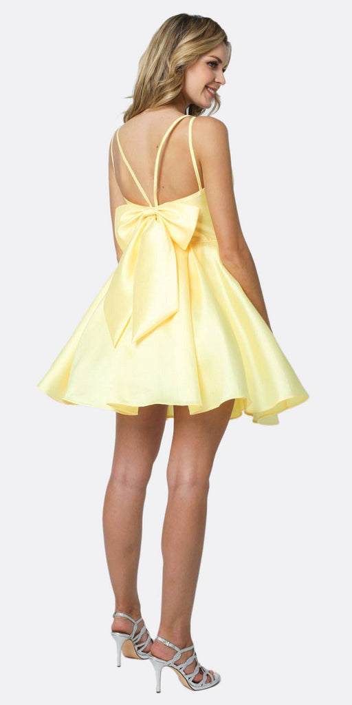 Juliet 827 Short Party Dress Yellow A-Line Removable Back Bow