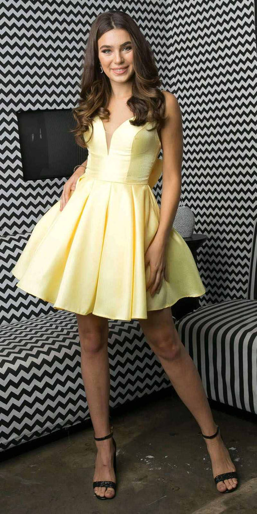 Juliet 827 Short Yellow Damas Party Dress A-Line Removable Back Bow
