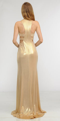 Gold Metallic Foil Sleeveless Long Formal Dress with Side Cut-Outs