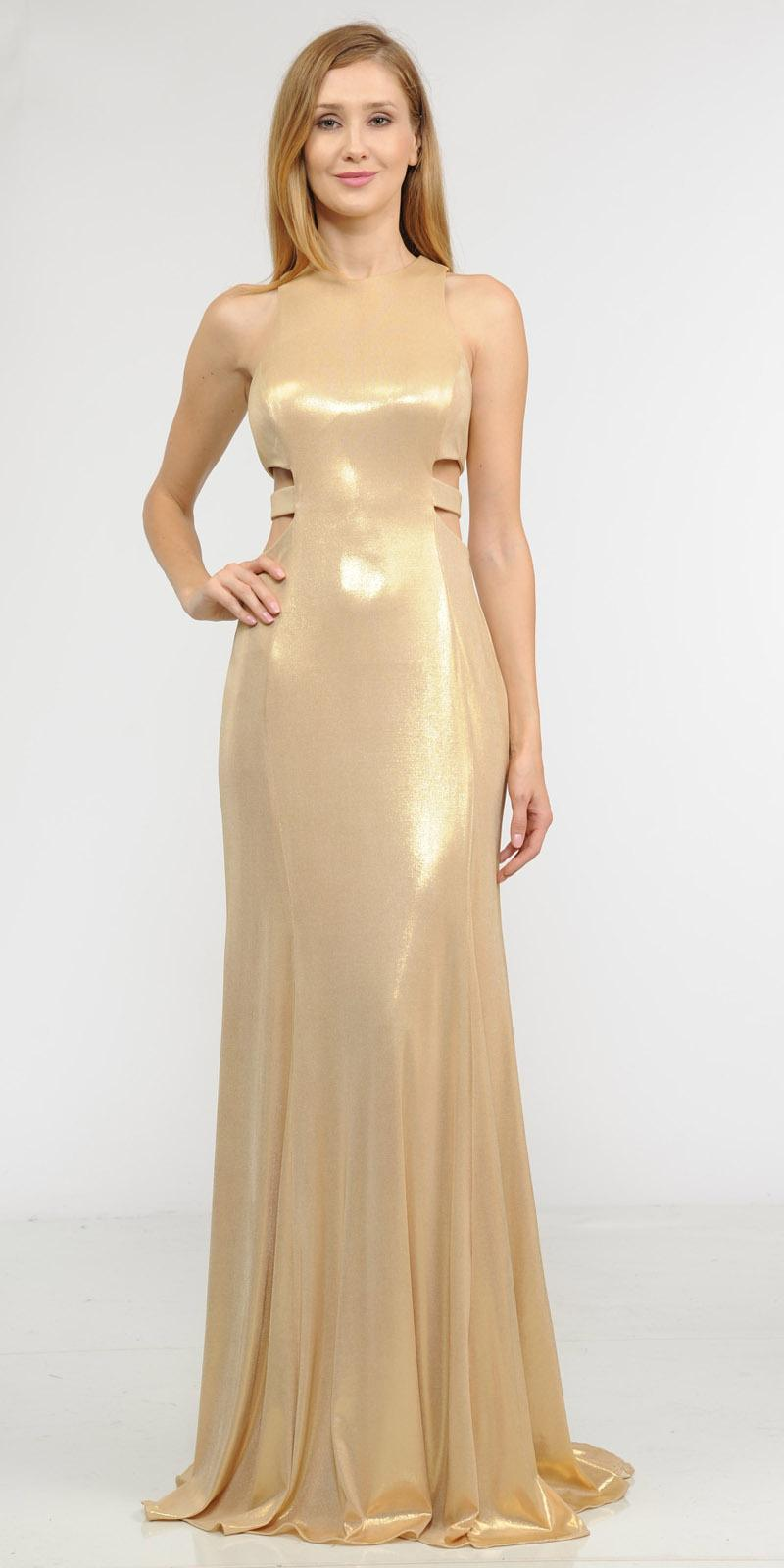 Poly USA 8270 Gold Metallic Foil Sleeveless Long Formal Dress with ...