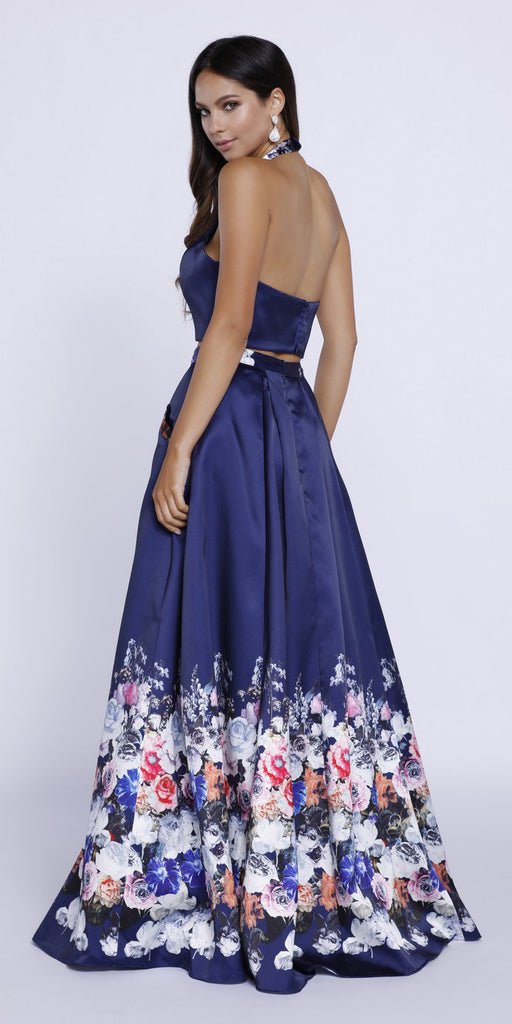 Satin Two-Piece Ball Gown Navy Floral Halter Top with Pockets