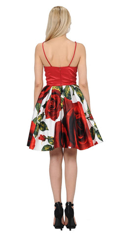 Print Skirt Halter Homecoming Short Dress with Pockets
