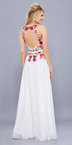 Ivory Embroidered Bodice Long Prom Gown Chiffon Sleeveless