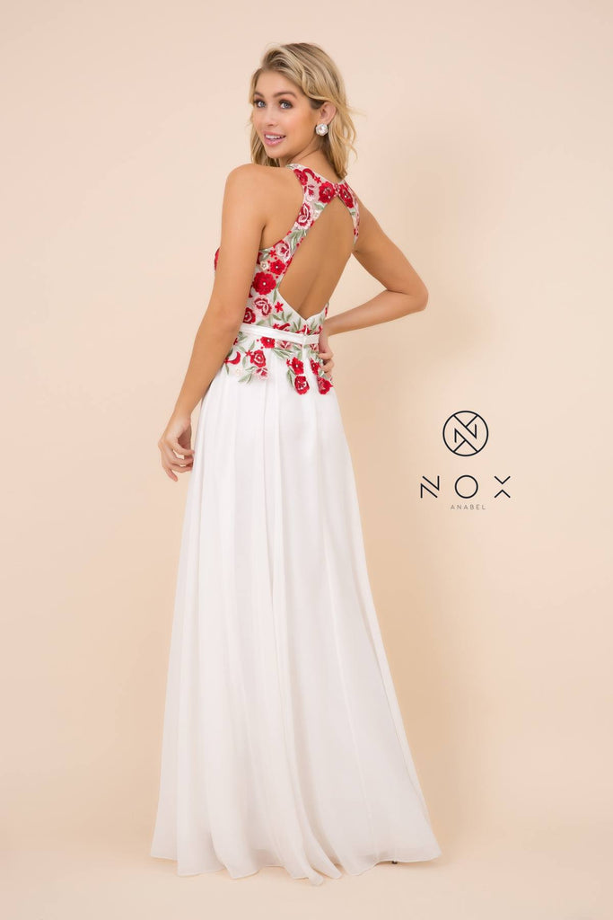 Nox Anabel 8275 Long Ivory Formal A-Line Chiffon Gown Embroidered Bodice
