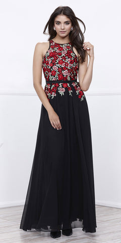 Black Embroidered Bodice Long Prom Gown Chiffon Sleeveless