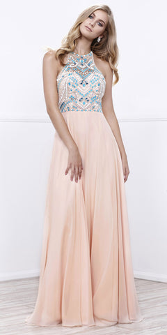 Halter Beaded Prom Gown Open Back Chiffon Floor Length Nude Aqua