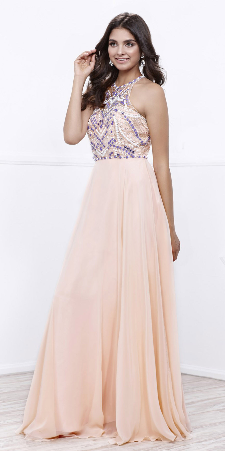Halter Beaded Prom Gown Open Back Chiffon Floor Length Nude Purple