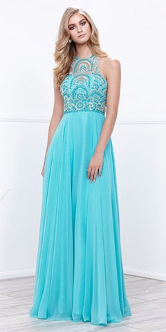 Illusion Embellished Bodice Floor Length Halter Prom Gown Aqua