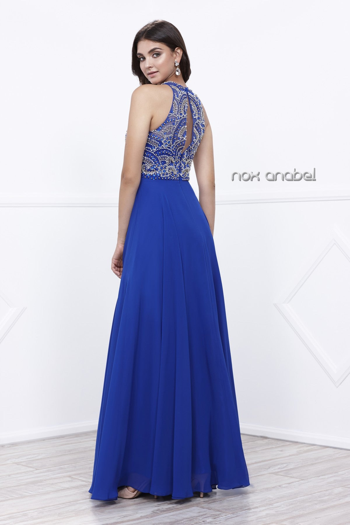 Illusion Embellished Bodice Floor Length Halter Prom Gown Royal Blue