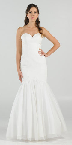 Sweetheart Neckline Strapless Mermaid Wedding Gown Off White