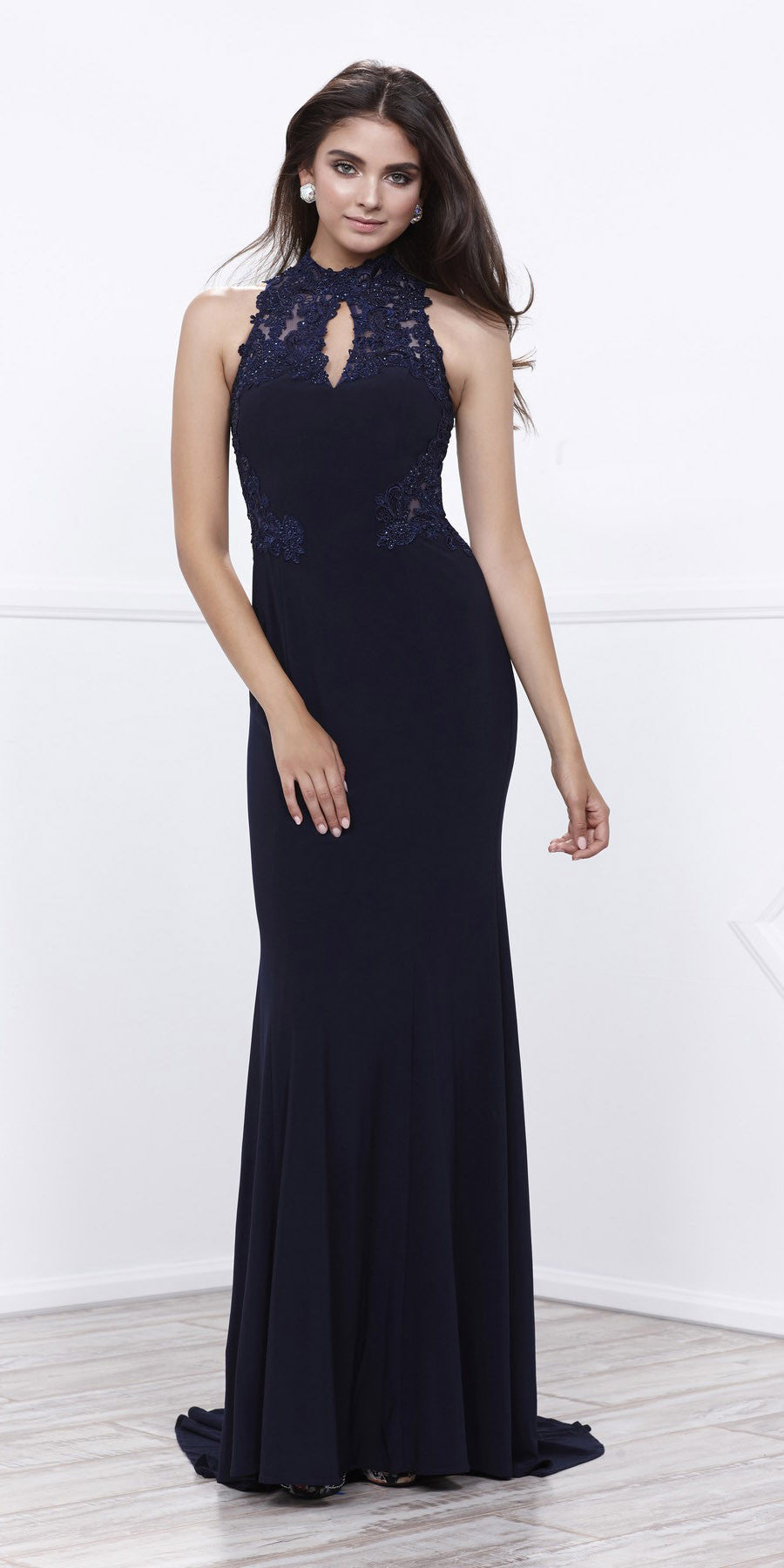 Navy Blue Close Neck Fit and Flare Appliqued Red Carpet Gown