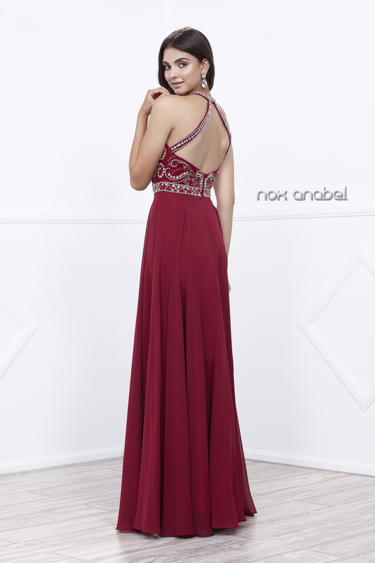 Burgundy Jeweled Halter Bodice Open Back A-Line Chiffon Prom Gown