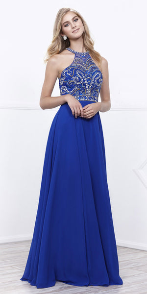 Royal Blue Jeweled Halter Bodice Open Back A-Line Chiffon Prom Gown