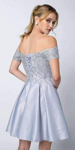 Juliet 828 Embroidered Bodice Off-the-Shoulder Short Dress Silver With Pockets