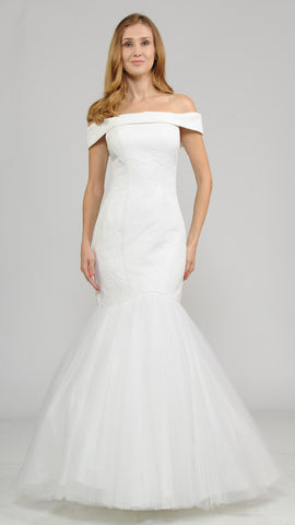 Off-the-Shoulder Long Trumpet Wedding Dress Off White
