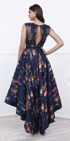 Navy Floral Printed High-Low Illusion Prom Gown Organza Sleeveless
