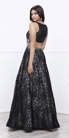 Black/Gold Sleeveless Lace Overlay Embroidered Ball Gown Open Back