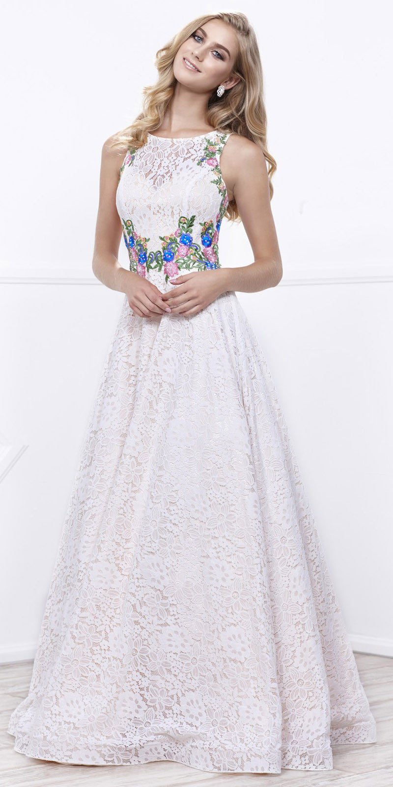 IvoryGold Sleeveless Lace Overlay Embroidered Ball Gown Open Back