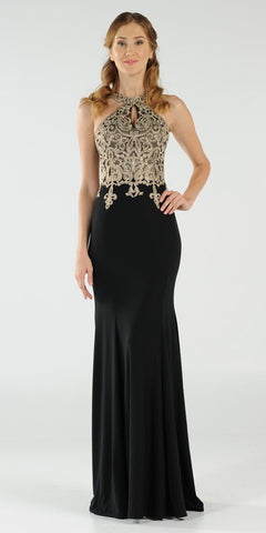 Black Halter Long Prom Dress Appliqued with Keyhole Neckline