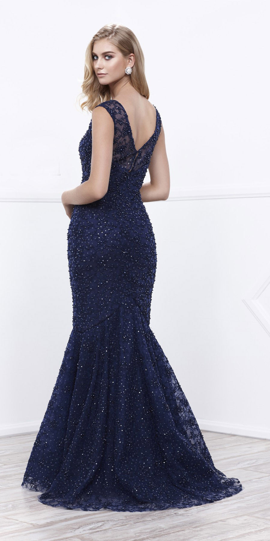 Illusion Lace Sequins Mermaid Floor Length Prom Dress Navy Blue