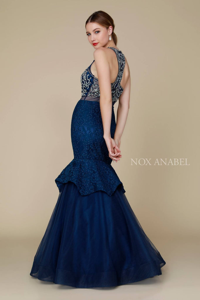 Nox Anabel 8284 Navy Mock Two-Piece Mermaid Dress Beaded Bodice Tiered