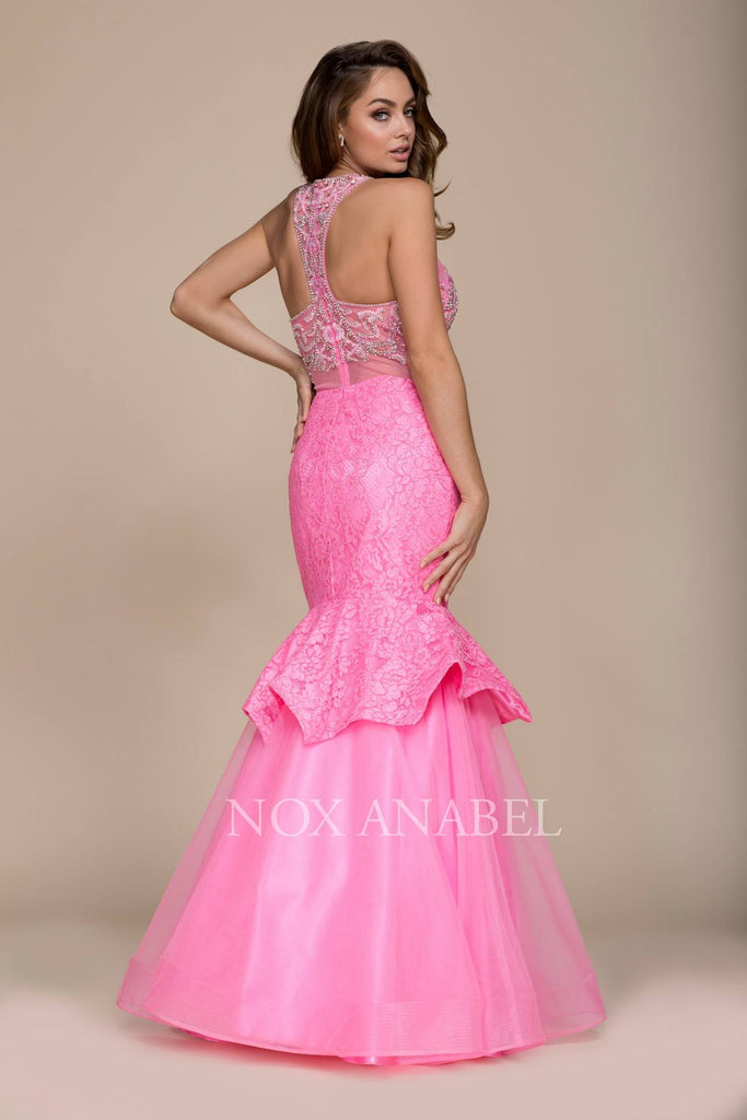 Nox Anabel 8284 Pink Mock Two-Piece Mermaid Dress Beaded Bodice Tiered
