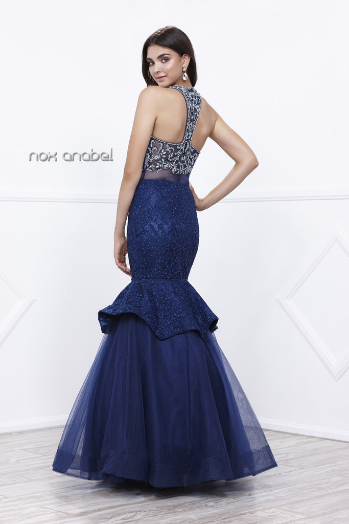 Navy Blue Mock Two-Piece Beaded Bodice Tiered Mermaid Gown