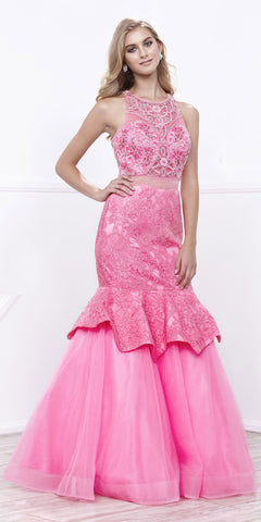 Blossom Mock Two-Piece Beaded Bodice Tiered Mermaid Gown