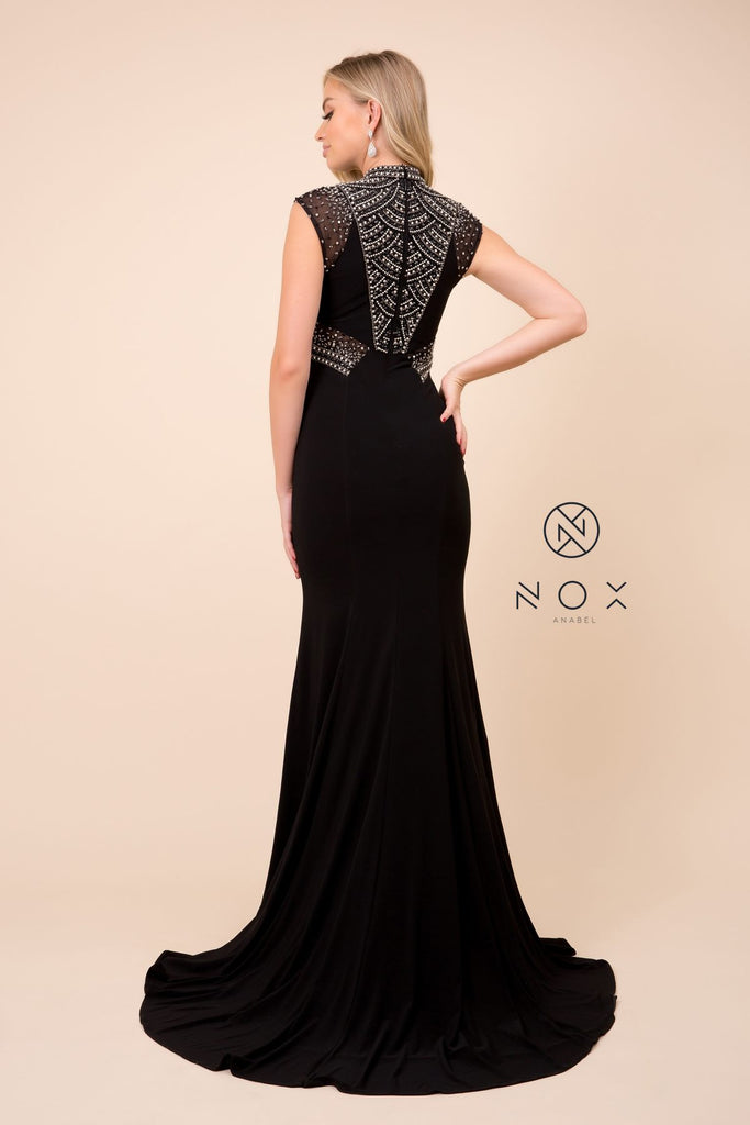 Nox Anabel 8285 Long Black Evening Gown Jeweled Cap Sleeve Fit Flare Train