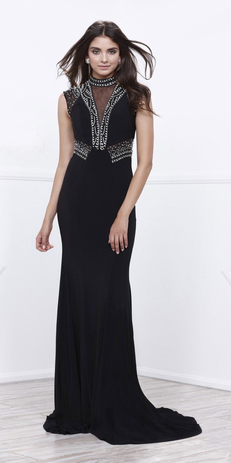 Jeweled Close-Neck Black Fit and Flare Evening Gown with Train