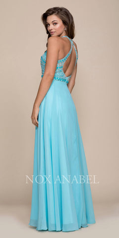 Nox Anabel 8286 Aqua Open Back Embellished Bodice A-Line Halter Formal Dress Long Back View