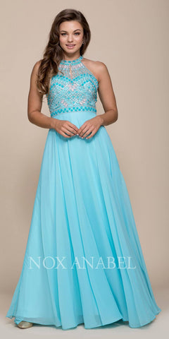 Nox Anabel 8286 Aqua Open Back Embellished Bodice A-Line Halter Formal Dress Long