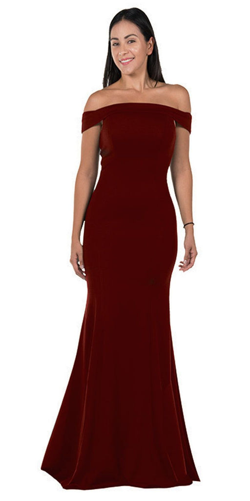 Burgundy Off-the-Shoulder Mermaid Style Evening Gown
