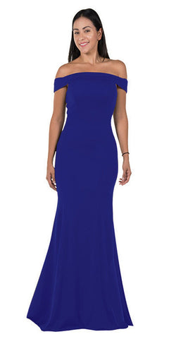 Royal Blue Off-the-Shoulder Mermaid Style Evening Gown